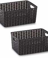2x donker bruin geweven opbergboxen opbergmanden 10 liter kunststof