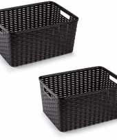 2x donker bruine geweven opbergboxen opbergmanden 18 liter kunststof