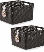 2x donker bruine geweven opbergboxen opbergmanden 28 5 liter kunststof