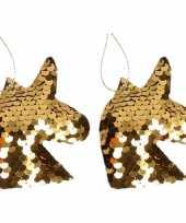 2x kersthangers figuurtjes eenhoorn goud met pailletten 7 cm