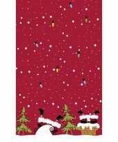2x rode kerst thema tafellakens tafelkleden met kerstman 138 x 220 cm