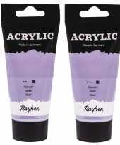2x tubes lila paarse acrylverf hobbyverf op waterbasis 75 ml