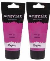 2x tubes mat roze acrylverf hobbyverf op waterbasis 75 ml