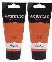 2x tubes oranje acrylverf hobbyverf op waterbasis 75 ml