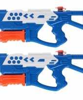 2x waterpistolen waterpistool blauw van 42 cm kinderspeelgoed