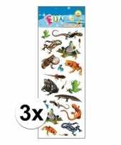 3x dieren stickervel reptielen
