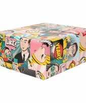 3x inpakpapier cadeaupapier gekleurd met comic book stripverhaal thema 200 x 70 cm