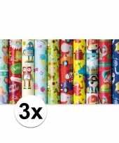 3x inpakpapier kinder verjaardag met monster 200 x 70 cm