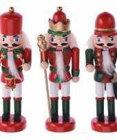 3x kerstboomhangers notenkrakers poppetjes soldaten rood groen 12 cm