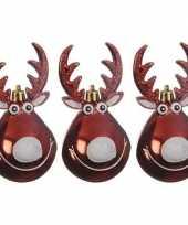 3x kersthangers figuurtjes rendier rudolph kerst rood 11 cm