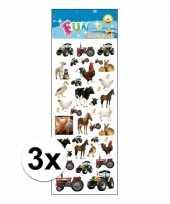 3x stickervel boerderij dieren