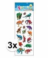3x stickervel dinosaurus gekleurd