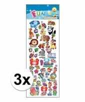 3x stickervel diverse dieren