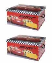 3x stuks rode opbergbox opbergdoos disney cars 49 x 39 x 24 cm