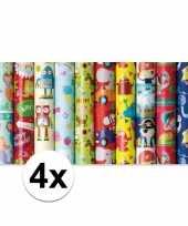 4x inpakpapier kinder verjaardag met olifanten 200 x 70 cm