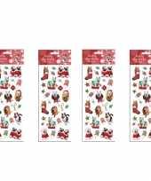 4x kerst stickervellen met 25 huisdieren stickers