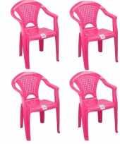 4x plastic kinderstoelen roze gesloten leuning 37 x 31 x 51 cm