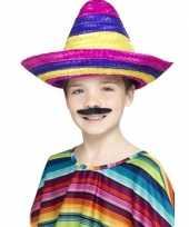 4x stuks gekleurde verkleed sombrero voor kinderen