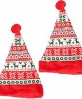 4x stuks rode kerstmutsen voor kinderen gebreide stijl