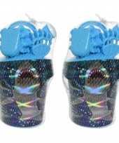 4x stuks strandemmer zandbak speelset blauw voor kinderen 19 cm