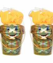 4x stuks strandemmer zandbak speelset geel voor kinderen 19 cm
