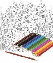 5x knutsel papieren kroontjes om in te kleuren incl potloden