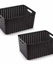 6x donker bruine geweven opbergboxen opbergmanden 18 liter kunststof