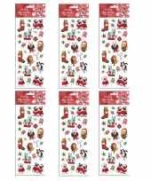 6x kerst stickervellen met 25 huisdieren stickers