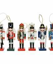 6x kerstboomhangers notenkrakers poppetjes soldaten 12 cm kerstversiering