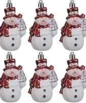 6x kersthangers figuurtjes sneeuwpop 8 cm