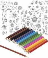 6x knutsel stickervellen om te kleuren incl potloden voor kids
