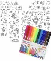 6x knutsel stickervellen om te kleuren incl stiften voor kids