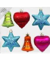 6x kunststof kersthangers kerstballen figuurtjes gekleurd 9 cm