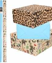 6x rollen kraft inpakpapier jungle panter pakket dieren luipaard blauw 200 x 70 cm