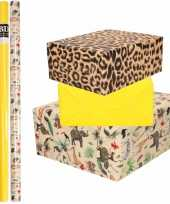 6x rollen kraft inpakpapier jungle panter pakket dieren luipaard geel 200 x 70 cm