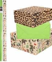 6x rollen kraft inpakpapier jungle panter pakket dieren luipaard groen 200 x 70 cm