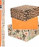 6x rollen kraft inpakpapier jungle panter pakket dieren luipaard oranje 200 x 70 cm