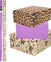 6x rollen kraft inpakpapier jungle panter pakket dieren luipaard paars 200 x 70 cm