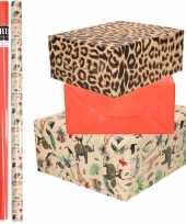 6x rollen kraft inpakpapier jungle panter pakket dieren luipaard rood 200 x 70 cm