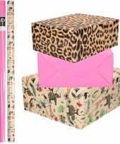 6x rollen kraft inpakpapier jungle panter pakket dieren luipaard roze 200 x 70 cm