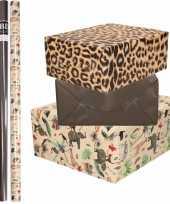 6x rollen kraft inpakpapier jungle panter pakket dieren luipaard zwart 200 x 70 cm
