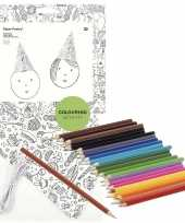 8x knutsel papieren feesthoedjes om in te kleuren incl potloden