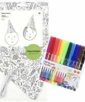 8x knutsel papieren feesthoedjes om in te kleuren incl stiften