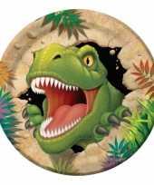 8x stuks dinosaurus thema kinderfeestje bordjes 23 cm