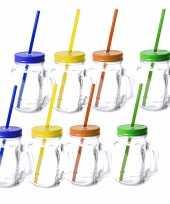 8x stuks glazen mason jar drinkbekers met dop en rietje 500 ml