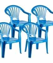 8x stuks kinderstoelen blauw kunststof 35 x 28 x 50 cm