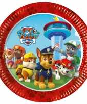 8x stuks paw patrol kinderfeestje eet gebak bordjes 23 cm