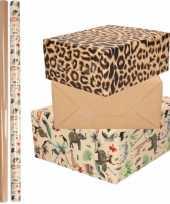 9x rollen kraft inpakpapier jungle panter pakket dieren luipaard bruin 200 x 70 cm