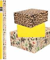 9x rollen kraft inpakpapier jungle panter pakket dieren luipaard geel 200 x 70 cm