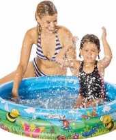 Blauw bloemen opblaasbaar zwembad baby badje 100 x 23 cm speelgoed